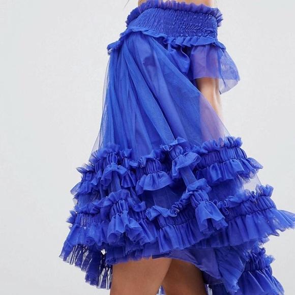 2ec293635f76 Dresses | Asos Bardot Tulle Ruched Mini Dresscobalt Size 6 | Poshmark